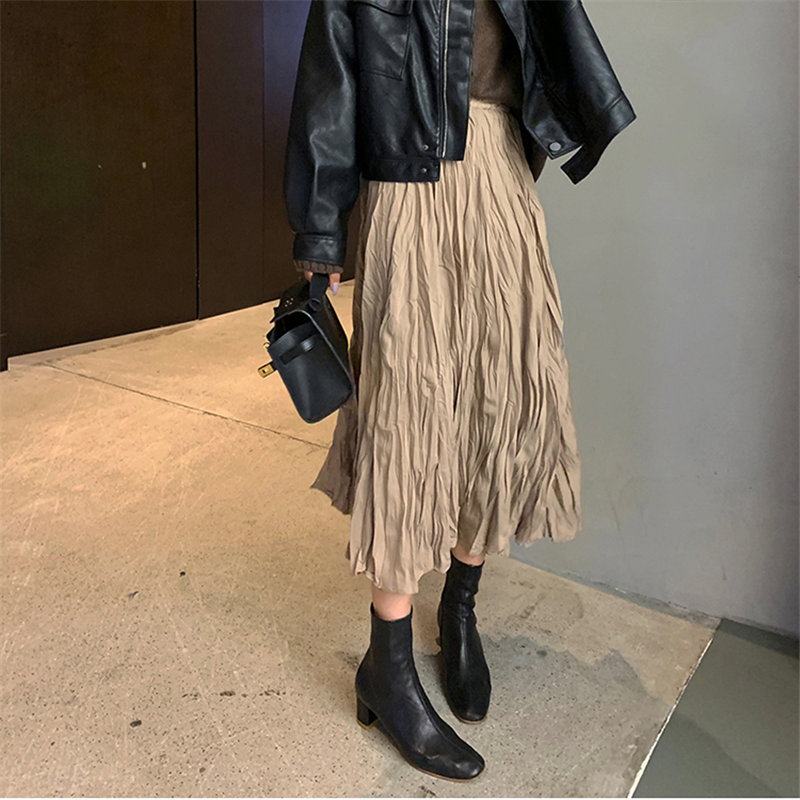 Hzirip All-match New Solid Brief Chic Elastic Hot Casual 2020 Loose Plus Size Students High Waist Stylish Office Lady Skirts