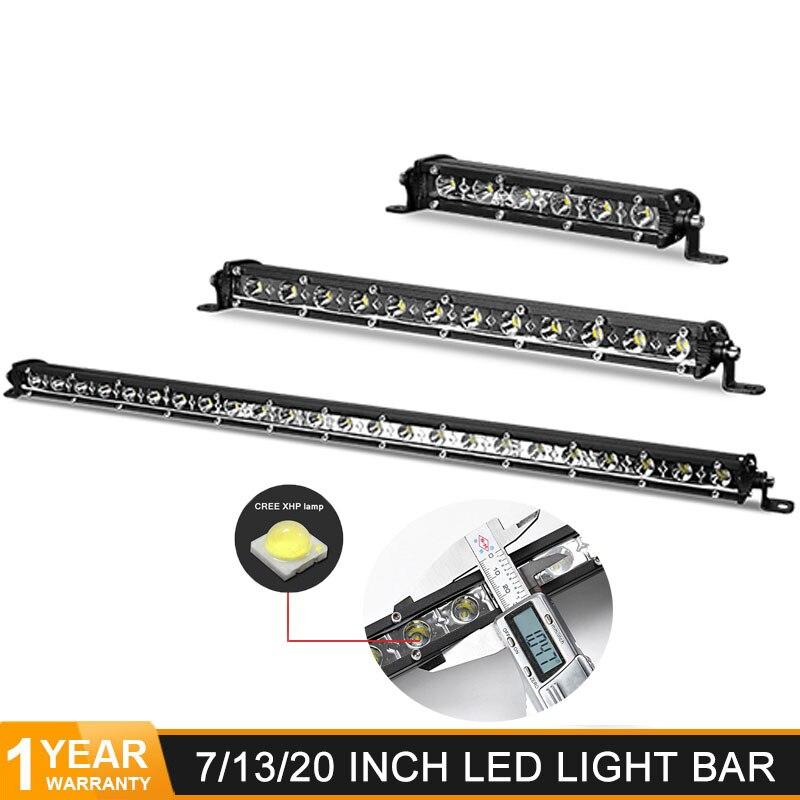 7 13 20 Inch Ultra Slim Led Light Bar Flood Spot Beam 12V 24V LED Work Light Offroad Driving Lamp For Jeep Truck ATV TraTractor