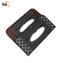 YOLU Car Kit Tissue Box Universal PU Sun Visor Hanging Type Embroidery Pattern Cover In Styling