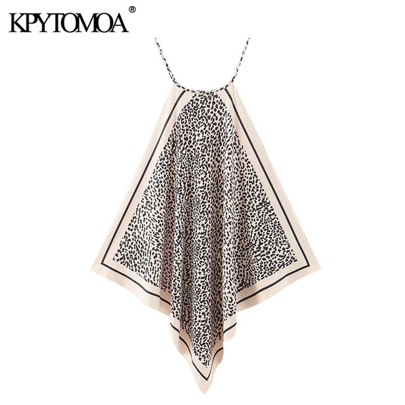 KPYTOMOA Women 2020 Fashion Leopard Print Asymmetric Halter Blouses Vintage Side Vents Thin Straps Female Shirts Chic Tops