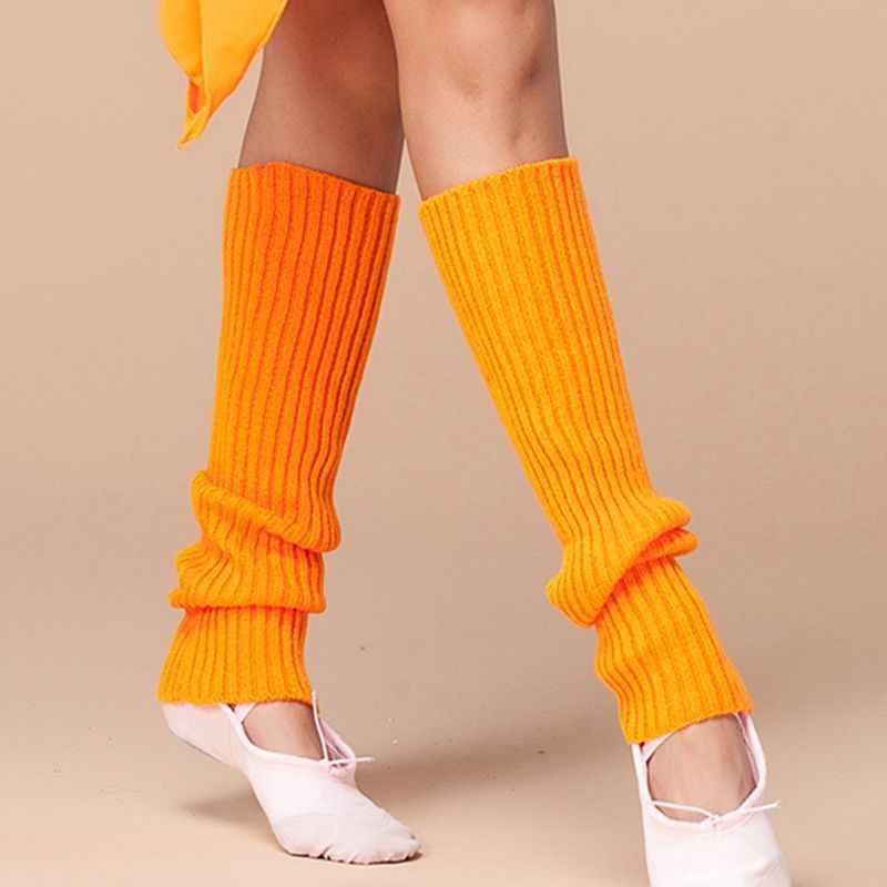 Bayan 80s Neon floresan nervürlü örgü tığ bacak ısıtıcıları parlak düz renk dans Yoga uzun ayaksız çorap parti aksesuarları