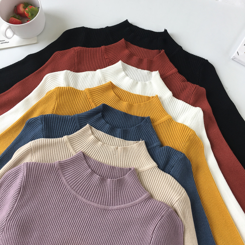 Long Sleeve Long Sleeve Sweater Round Collar Tightly Knitted Sweater Jumper Autumn Women's Sweater Winter Knitted Yarn 2019