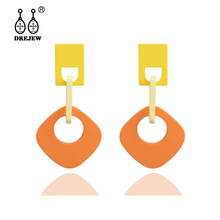 DREJEW Blue Green Yellow Orange Contrast Color Acrylic Geometric Statement Dangle Earrings Drop Sets for Women HE9811