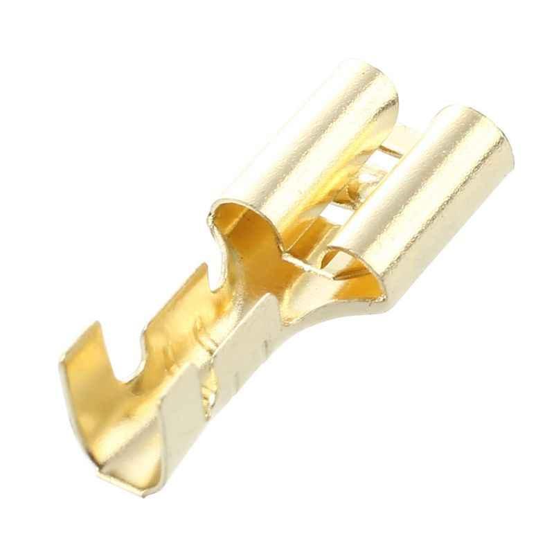 Qualité 20 pièces or ton laiton sertissage Terminal 6.7mm femelle bêche connecteurs