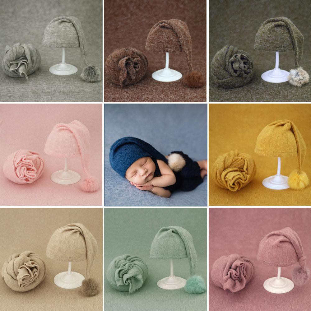 New Arrival Newborn Baby Photography Blanket Wrap Long Tail Hat Set Photo Shot Props Infant Fotografia Costumes Backdrop Studio