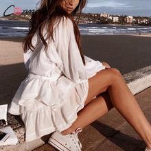 Conmoto saia curta feminina de renda e plissada, saia branca casual de bolinhas, curta para meninas férias, verão 2019Saias