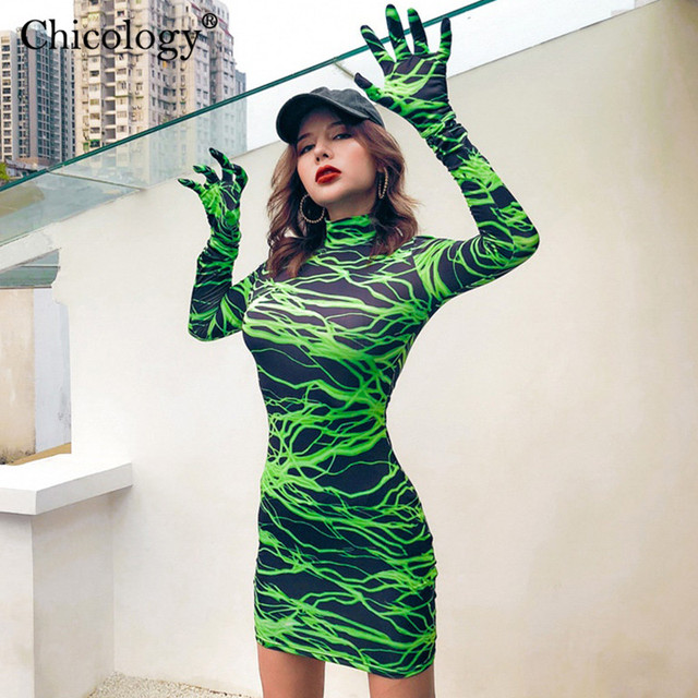 Neon lightning print Mini dress 1