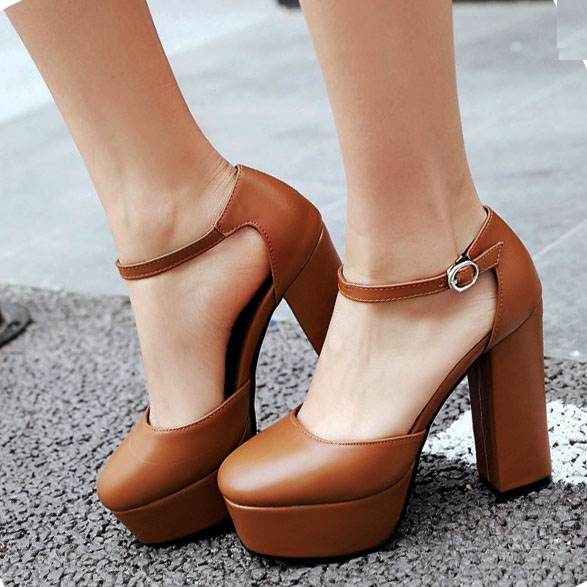 EAGSITY women high heel sandals brown platform ankle strap block heel party dancing wedding pumps