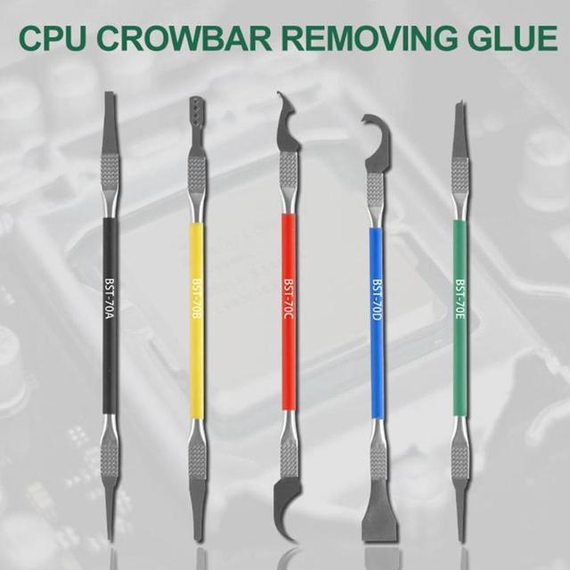5pcs Stainless Steel Chip Shovel Glue CPU Remover BGA Maintenance Thin Blade Phone PC Disassemble Processor Tools