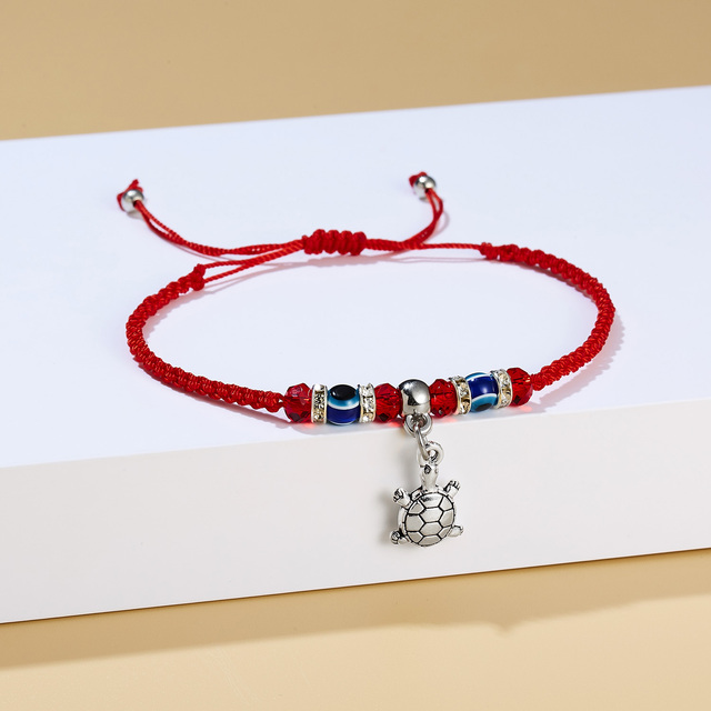 Rinhoo Lucky Red String Thread Hamsa Pendant Bracelet Blue Turkish Evil Eye Charm for Women Men Handmade Friendship Jewelry Gift