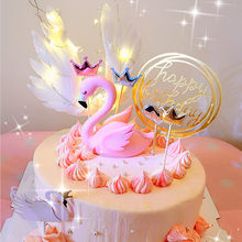 Flamingo Angel Wings Cake Topper Unicorn Flag for Boy Girl happy Birthday Cupcake Wedding Cake Toppers Decoration Party Supplies(China)