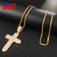 US7 Gold Cubic Zirconia Cross Pendant Stainless Steel Bling Zircon Pendants Necklace Men Women Hip Hop Jewelry