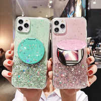 Glitter Case For Samsung Galaxy A71 A91 S10 Plus Lite Note 10 A80 A90 A70 A50 A40 A M 30 20 10 A51 S E Ultra Mirror Stand Cover