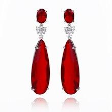 Xiumeiyizu Waterdrop Gradient Rood Blauw Toermalijn Crystal Zirconia Engagement Drop Oorbellen Voor Vrouwen Sieraden