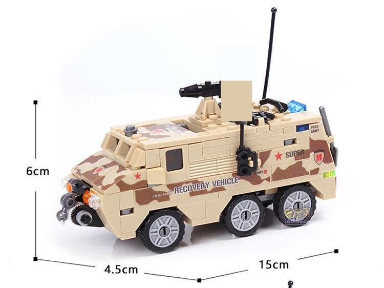 Купить с кэшбэком 180Pcs Military DIY Armored Personnel Car Building Blocks Sets Soldiers ARMY Playmobil DIY Bricks Educational Toys for Children