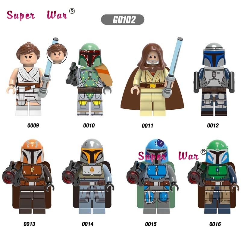 Single Star Wars Poe Baby Rey Fett Luke Skywalker Mandalorian  Jango Fett Mechanic Robot Building Blocks Model Bricks Toys