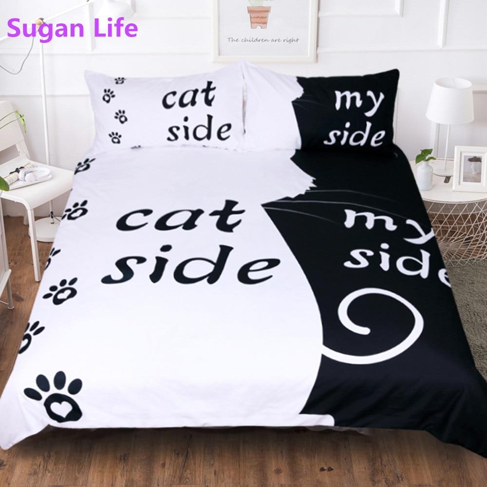 Sugan Life Simple noir + blanc ensemble de literie chat/chien/lui et son Couple literie taie d'oreiller personnalisé Textiles de maison ensemble de lit