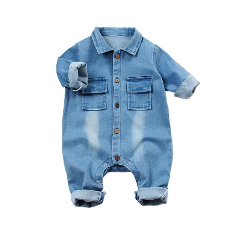 Baby Clothes Boys Girls Rompers Long Sleeve Cartoon Print Denim Romper Kids Casual Jumpsuit