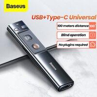Baseus-Bolígrafo presentador inalámbrico para ordenador, mando apuntador remoto, con puntero de presentación, con punto de alimentación de 2.4 Ghz, con adaptador USB C para presentaciones PPT