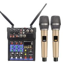 4 kanäle Audio Mixer Drahtlose Mikrofon Kondensator Mikrofon kits Audio Interface Bluetooth Mischen Konsole 48V Phantom Power