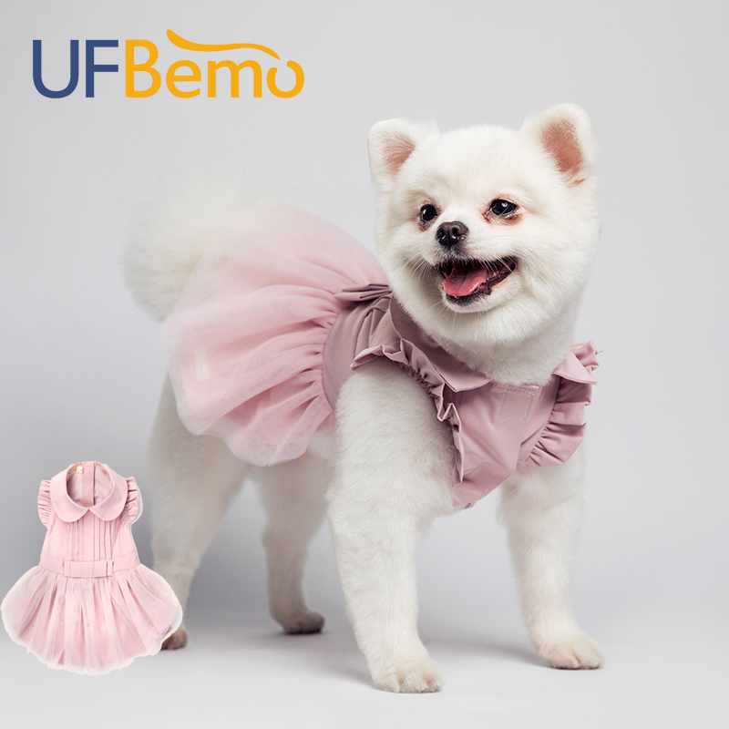 UFBemo <font><b>Dog</b></font> <font><b>Dress</b></font> Cat Winter Christmas Disfraz Perro for Small <font><b>Dogs</b></font> Wedding <font><b>Dresses</b></font> Clothes for Pet Pink Vestido Chihuahua image