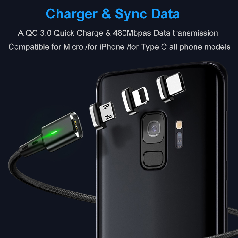 Elough Quick Magnetic Charger 3.0 4.0 Micro USB Cable for iPhone Samsung Xiaomi Fast Magnetic Phone Charging Cord Type C Cable 1