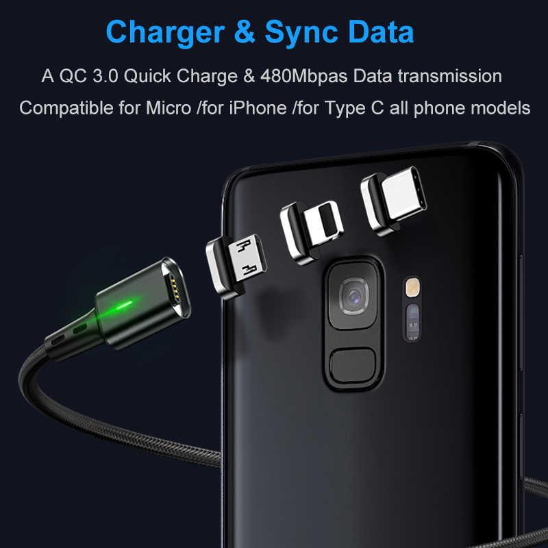 Elough hızlı manyetik şarj 3.0 4.0 mikro USB kablosu iPhone Samsung Xiaomi için hızlı manyetik telefon şarj kablosu tip C kablo