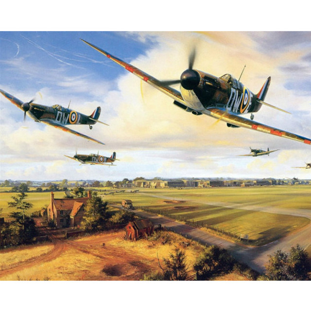 RAF Spitfire Fighter War Flight Adult Paint By Numbers Kit