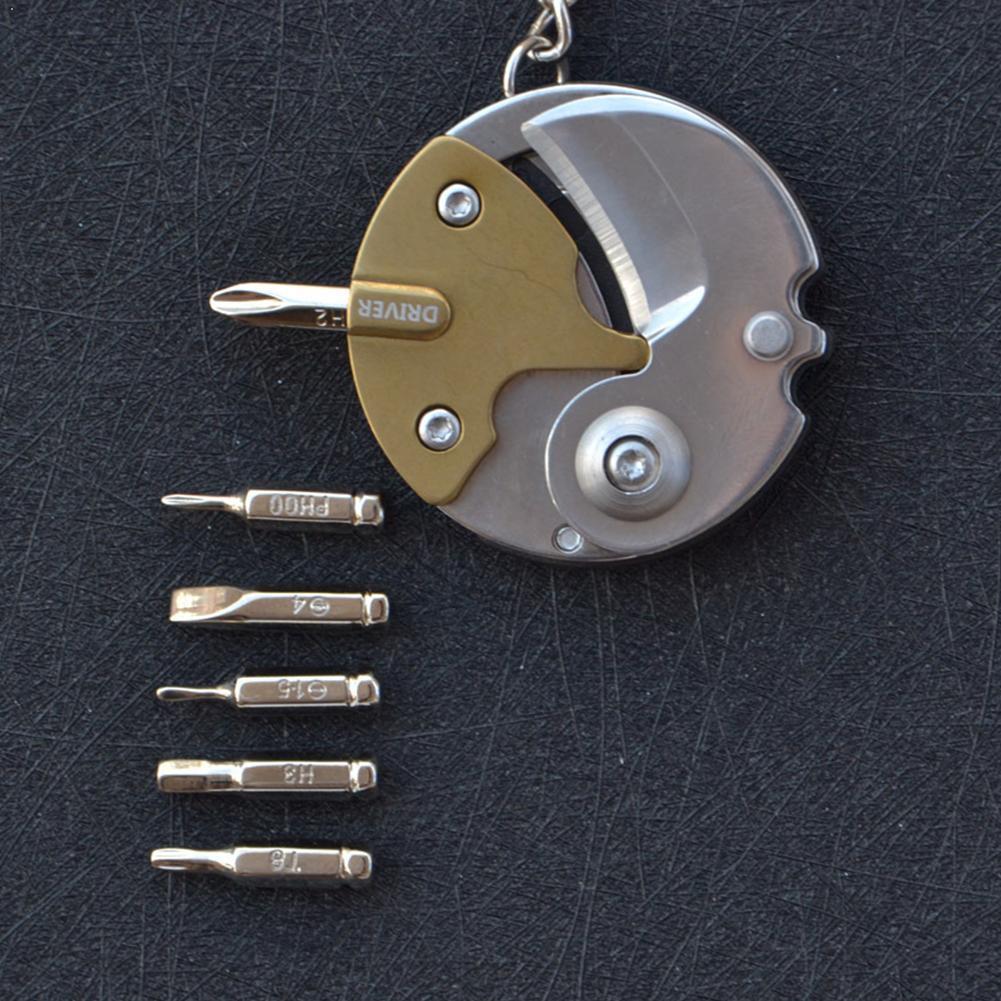 Outdoor Mini Folding Screw Tool Portable Multi-function Folding Screw Coin Screwdriver Exquisite N2S0