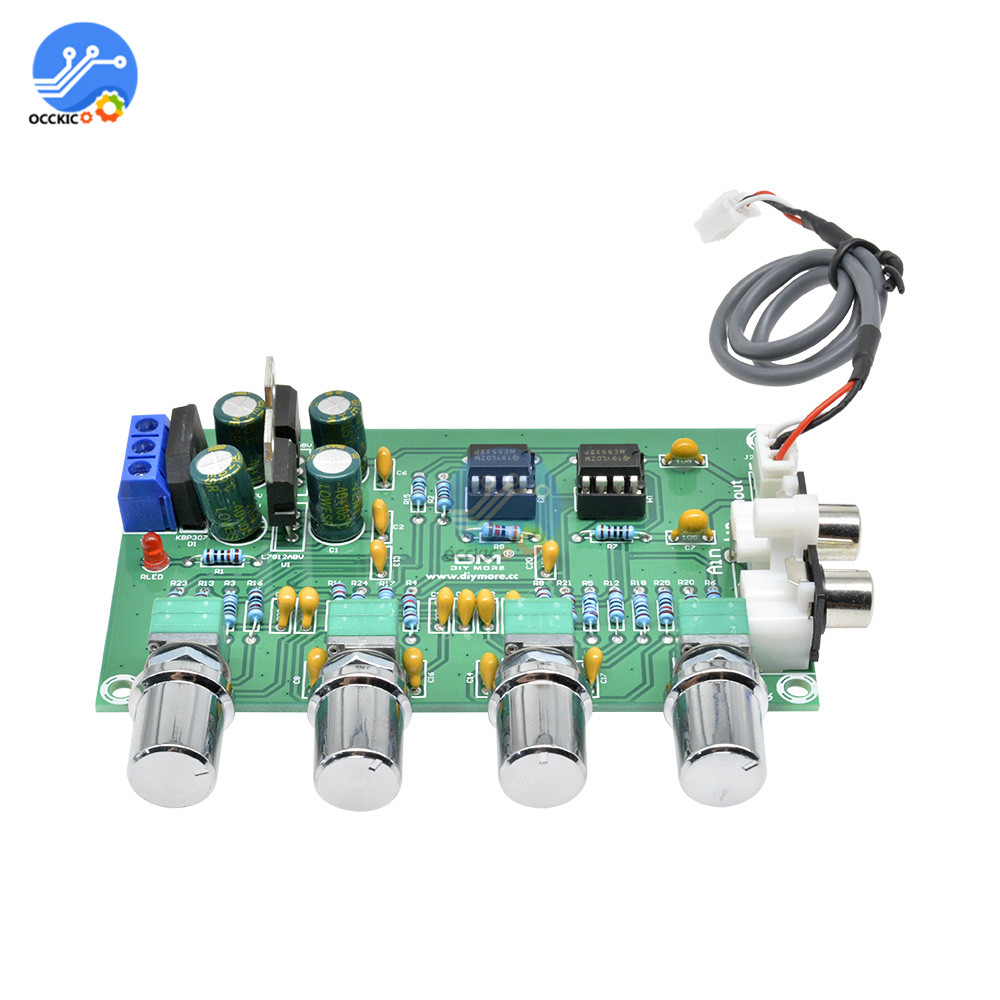 NE5532 Amplifier Board Audio 4 Channels Preamplifier Tone HIFI Board Stereo Pre-amp Amplifier Professional Speaker Power Control