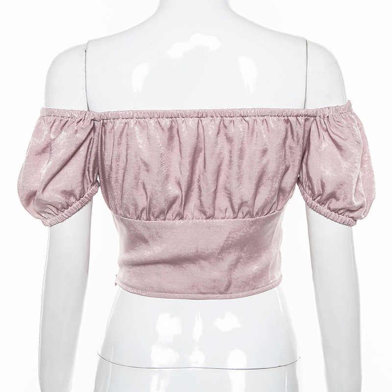 ALLNeon Offไหล่เสื้อสำหรับผู้หญิงคราบพัฟแขนLace Up Ruched Cropped Tเสื้อVintageเสื้อผู้หญิงE-สาวชุดY2K