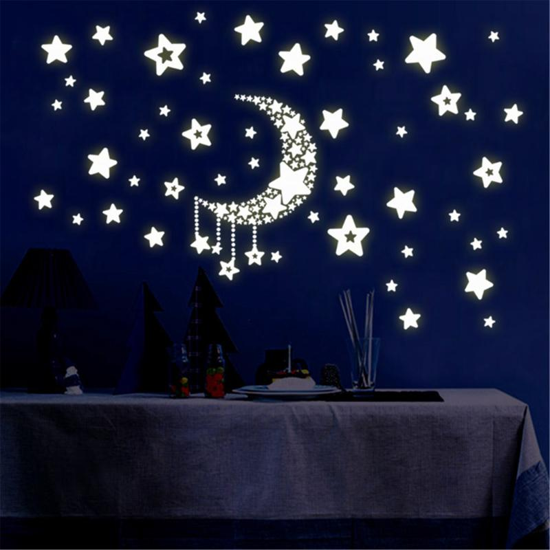 Kids Bedroom Living Room Fluorescent Glow In The Dark Luminous On Wall Stickers DIY Decal Star And Moon Energy Storage Sticker