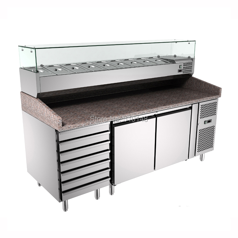PFSY-PZ2610 Pizza Counter Display Case 304 Stainless Steel Refrigerator Pizza Workbench New Design