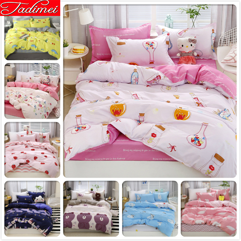 White Pink Girl Student Adult Kids Soft Cotton Duvet Cover Sheet Pillowcase Bedding Set Single Twin Full Queen King Size 150x200