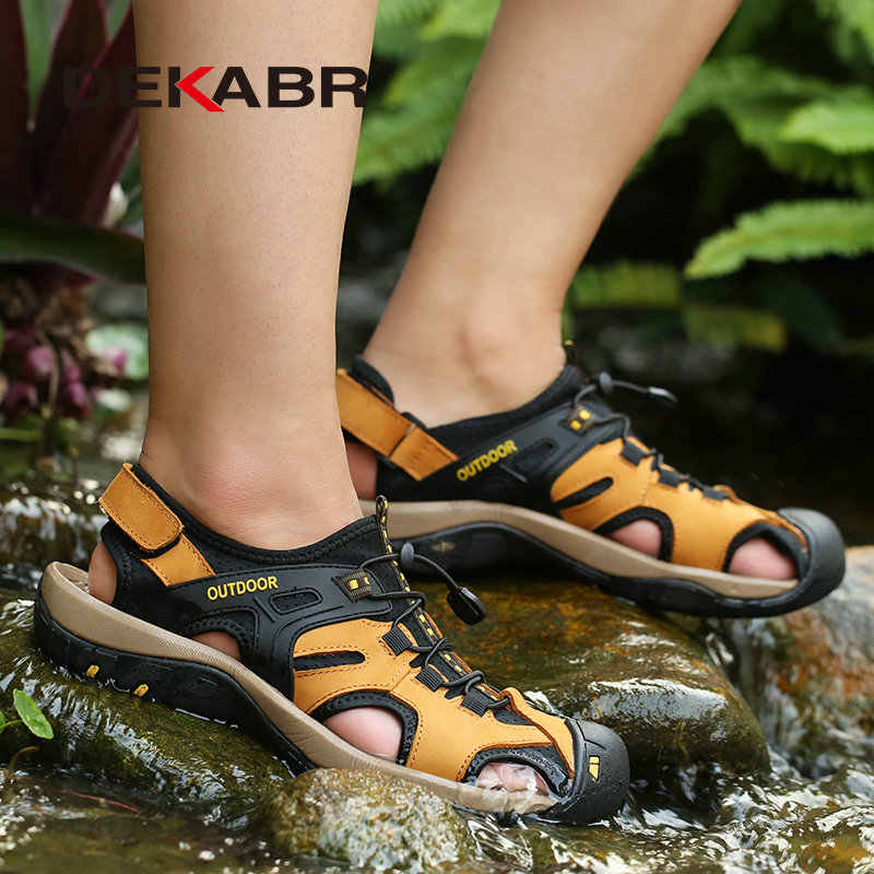 Dekabr novo verão sapatos masculinos ao ar livre sapatos casuais sandálias de couro genuíno antiderrapante tênis hihg qualidade homens sandálias de praia