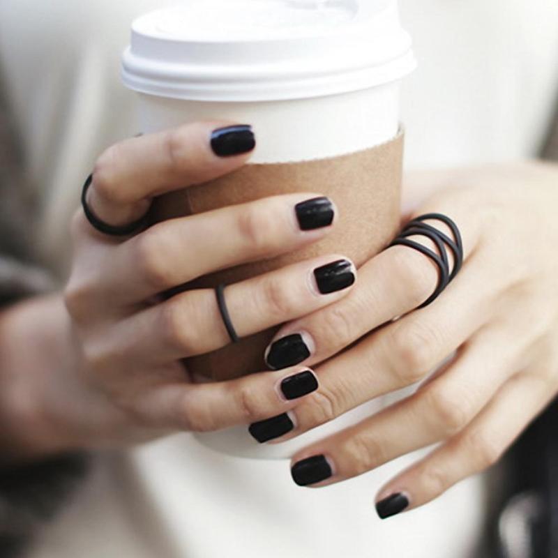 3PCS//Set Women Punk Black Stack Plain Above Knuckle Ring Midi Finger Tip Rings