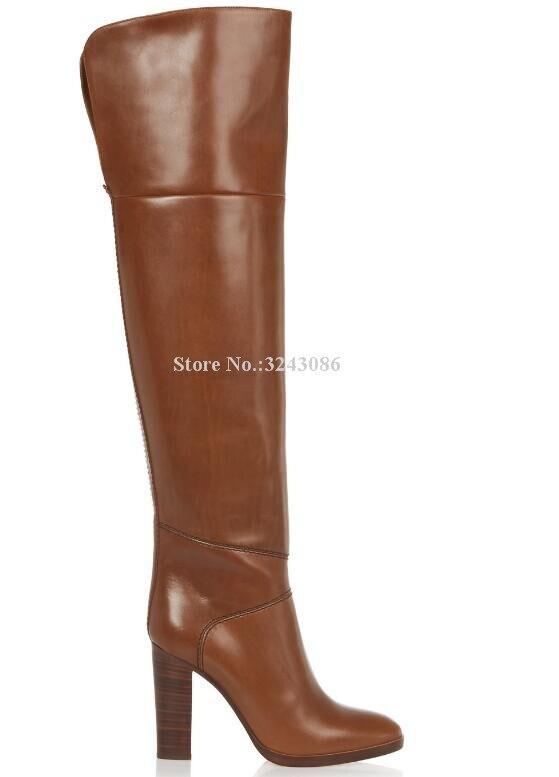 Neue Braun Leder Chunky Ferse Frauen Lange Stiefel Marke Design Große Größe Über die Knie Stiefel Promi Bankett Schuhe Dropship - 3