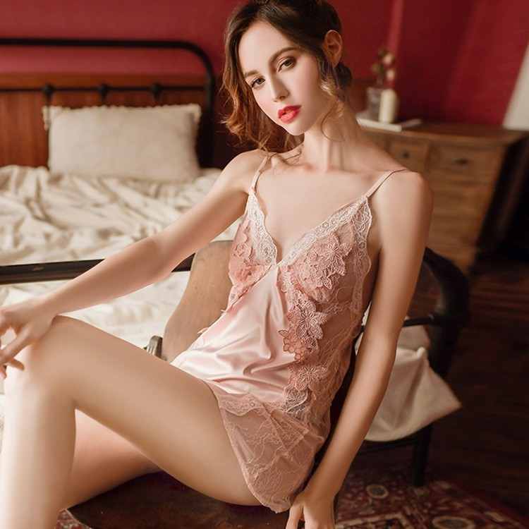 Sexy lingerie See Through Fancy Women Lace Dress Underwear Babydolls Sheer Chemises 3 colors Sleepwear Silk made 1