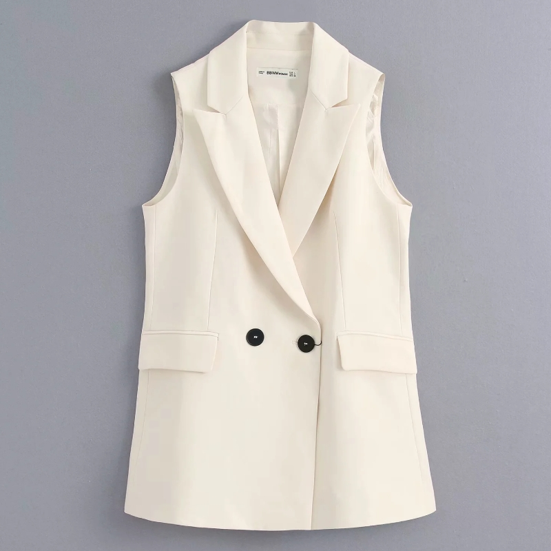 Women Fashion Sleeveless Solid Vest Jacket Office Lady Wear Double Breasted Casual Pockets WaistCoat Leisure Outwear Tops CT393