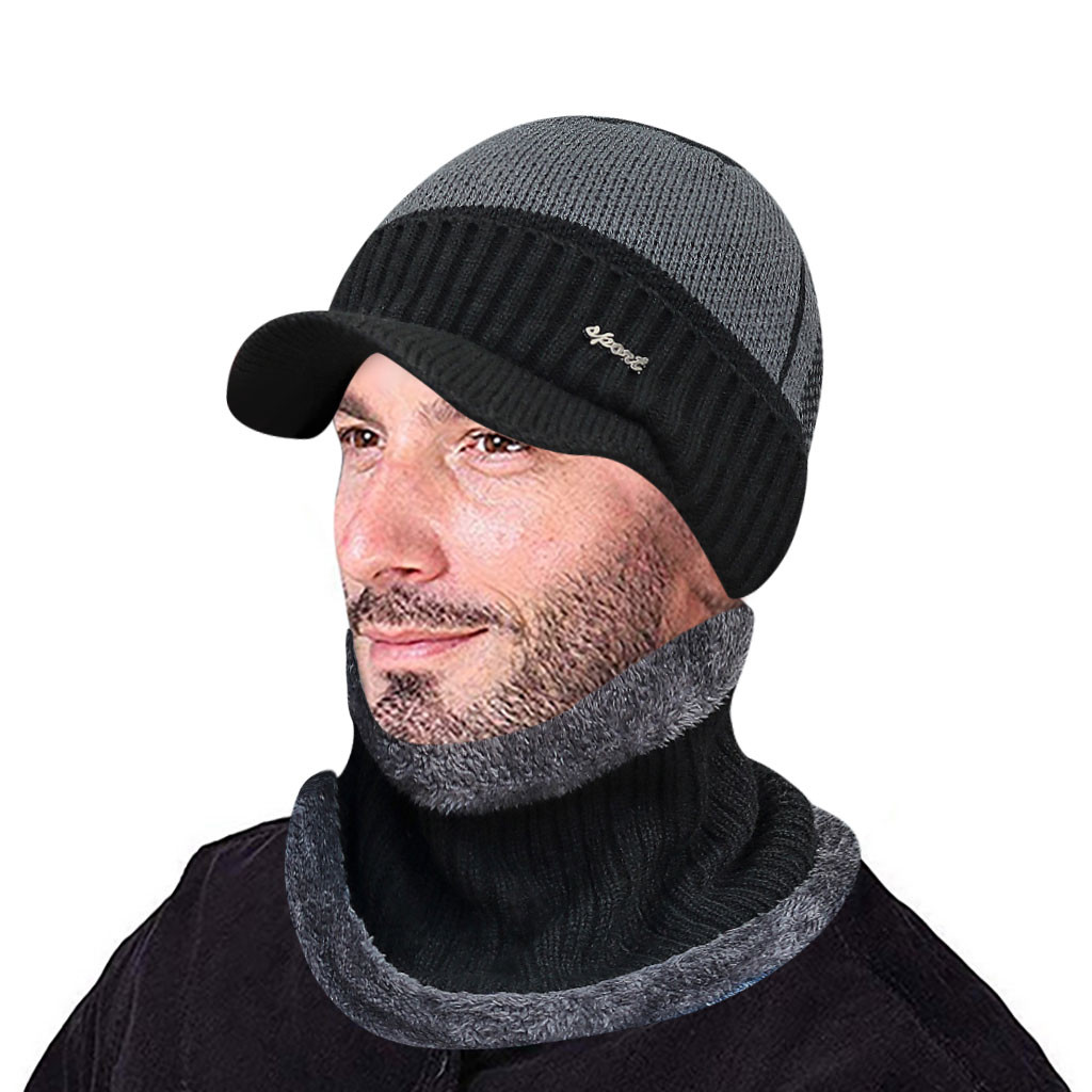Fashion Men Warm Winter Hat Scarf Soft Knitted Hat Scarf Set Skullies Beanies Winter Hat For Women Unisex Knitted Caps #Z