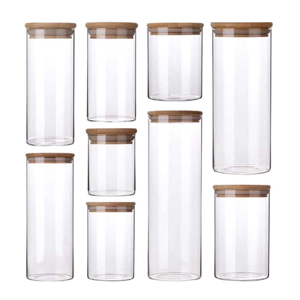 4Pcs Toples Kaca Disegel Kaleng dengan Tutup Makanan Penyimpanan Botol Mason Bumbu Botol Teh Permen Kotak Penyimpanan dengan Dapur penyimpanan Dapat