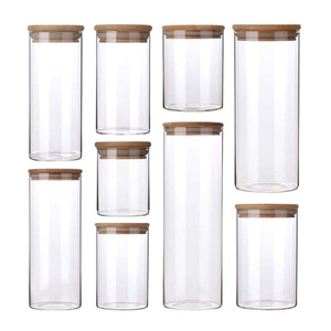 Glass Jar with Bamboo Lid Sealed Canister Food Storage Bottles Container Kitchen Storage for Loose Tea Coffee Bean Sugar Salt