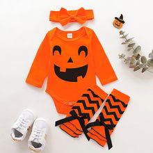 Baby Halloween Costumes 2019 Newborn kid Baby Girl Clothes Infant Pumpkin Romper Bodysuit Leg Warmer Headband 4pcs Outfits(China)