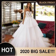 Женское свадебное платье Its yiiya, белое ТРАПЕЦИЕВИДНОЕ ПЛАТЬЕ С 3D цветочной аппликацией без рукавов и с рюшами на лето 2019