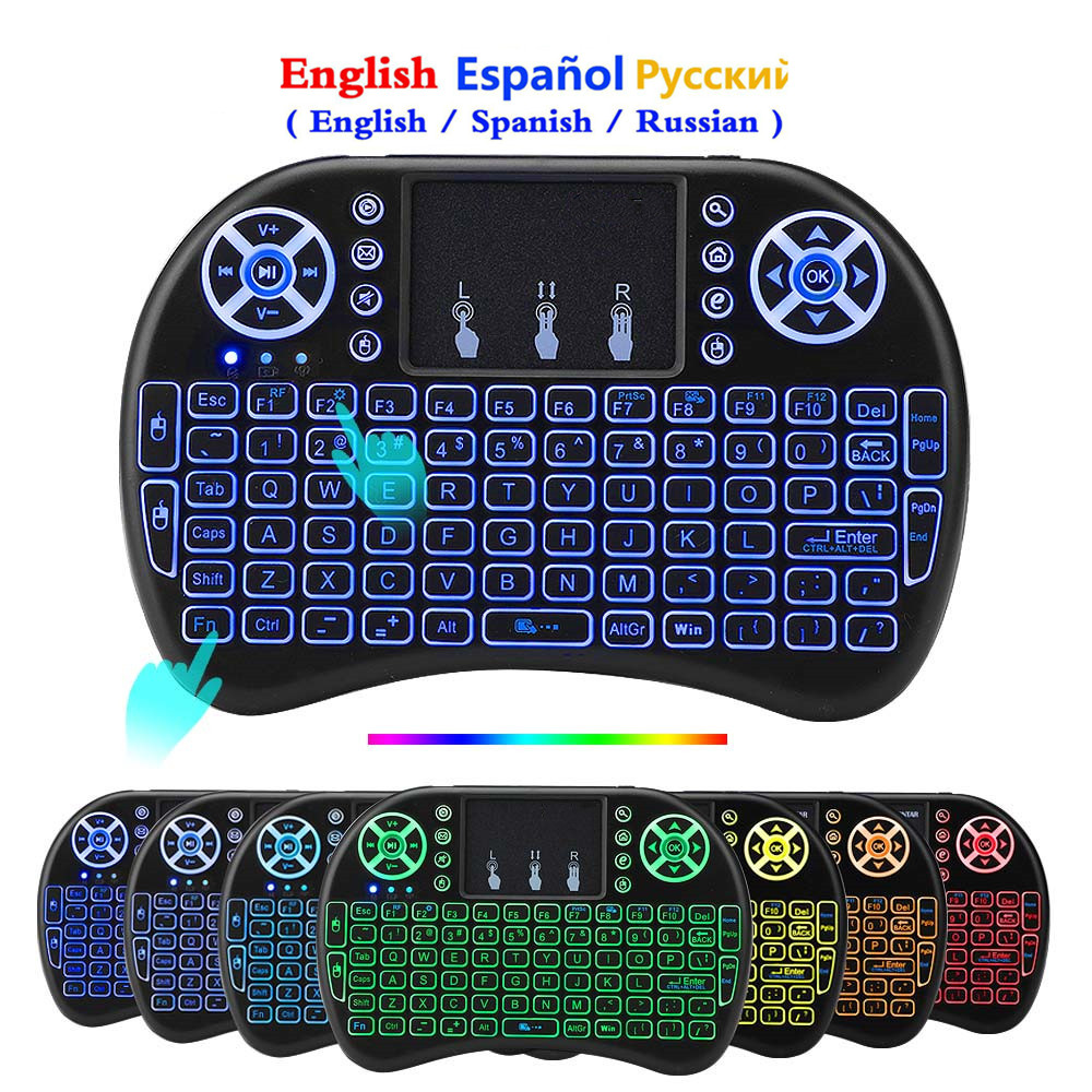 USB Keyboard Touchpad Laptop Spanish Russian Smart-Tv I8 Backlit English Mini 7-Color title=