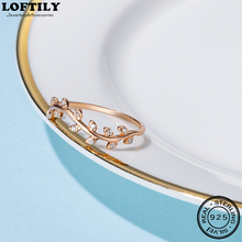 Simple 925 Sterling Silver Personalized Leaf Ring CZ Gift For Women Girl Fine Jewelry Rings Rose Gold Plated