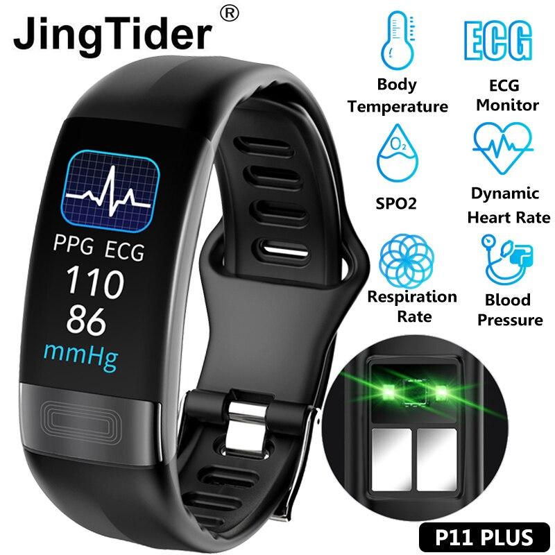 P11 Plus контроль температуры тела Смарт-браслет ЭКГ PPG SPO2 смарт-браслет пульсометр измерение артериального давления дыхания браслет