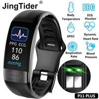 P11 Plus Körper Temperatur Überwachung Smart Armbänder EKG PPG SPO2 Smart Band Herz Rate Blutdruck Armband Fitness Tracker