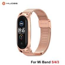 Mijobs – Bracelet de poignet en métal, sans vis, en acier inoxydable, pour Xiaomi Mi Band 5 4 3