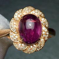 Rubillite Ring Fine Jewelry Pure 18 K Gold Natural Rubi Tourmaline 2.6ct Gemstone Diamond Gift Female Rings for Women Fine Ring